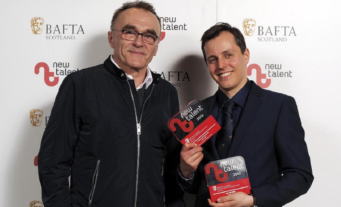 Reżyser Danny Boyle iKrzysztof Kubik narozdaniu Bafta Scotland New Talent 2016
